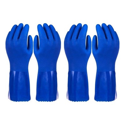 Pack of 2 Pairs Household Gloves - Cotton Lined Dish Gloves - Dishwashing Gloves - Rubber Gloves - Kitchen Gloves, Blue, X-Large