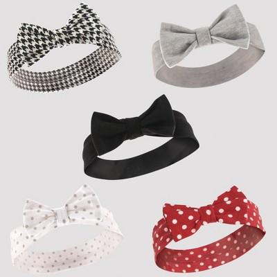 Hudson Baby Girls' 5pk Headbands - Red/Black 0-12M