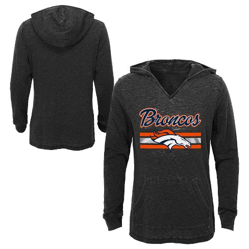 cheap for discount d64e0 8e082 NFL Denver Broncos Girls' Game Time Gray Burnout Hoodie