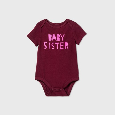 Baby Girls' 'Baby Sister' Short Sleeve Bodysuit - Cat & Jack™ Burgundy 3-6M