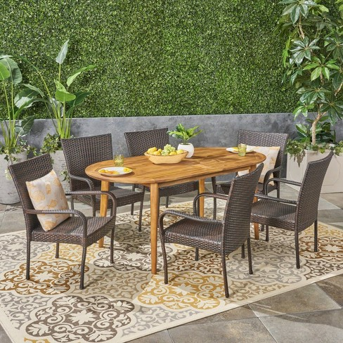 Elderon 7pc Acacia Wood and Wicker Dining Set - Christopher Knight Home - image 1 of 6