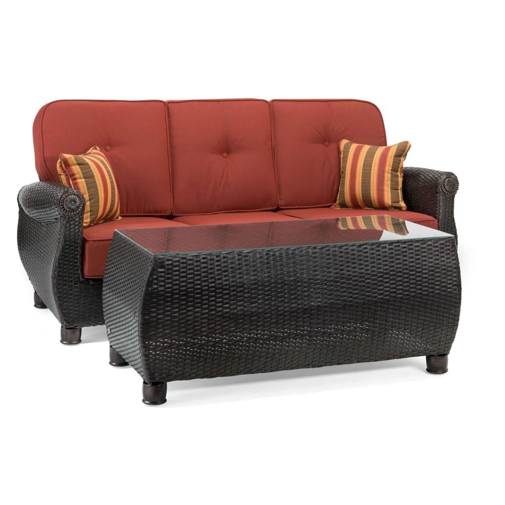 La-Z-Boy Outdoor Breckenridge 2pc Wicker Outdoor Sofa and Coffee Table Set with Sunbrella Meredian Brick Cushion