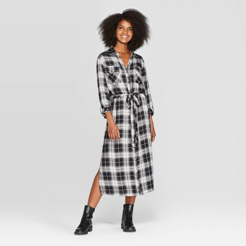 Women's Plaid Long Sleeve Button-Front Long Open Layered Shirt Jacket - Knox Rose™ Black - image 1 of 2