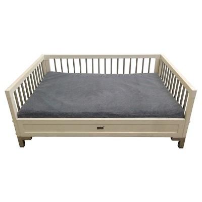 ECOFLEX Raised Dog Bed with Memory Foam Cushion - Antique White - Large