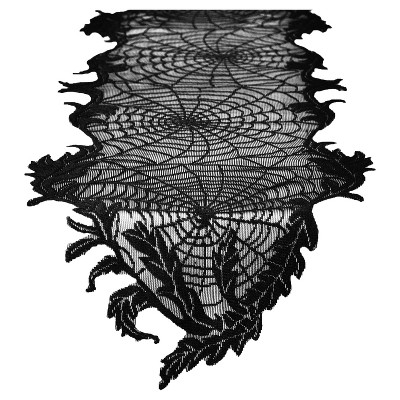Halloween Spider Web Lace Table Runner Black - Hyde & EEK! Boutique™