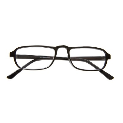 ICU Eyewear Rectangle Reading Glasses with Case - Classic Black