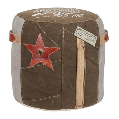 Canvas Pouf with Star Motif Brown - Olivia & May