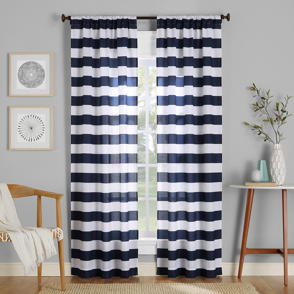 Image of 40x63 Glendale Stripe Semi-Sheer Rod Pocket Curtain Panel Navy-No. 918, Blue