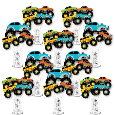 Big Dot of Happiness Smash and Crash - Monster Truck - Boy Birthday Party Centerpiece Sticks - Showstopper Table Toppers - 35 Pieces