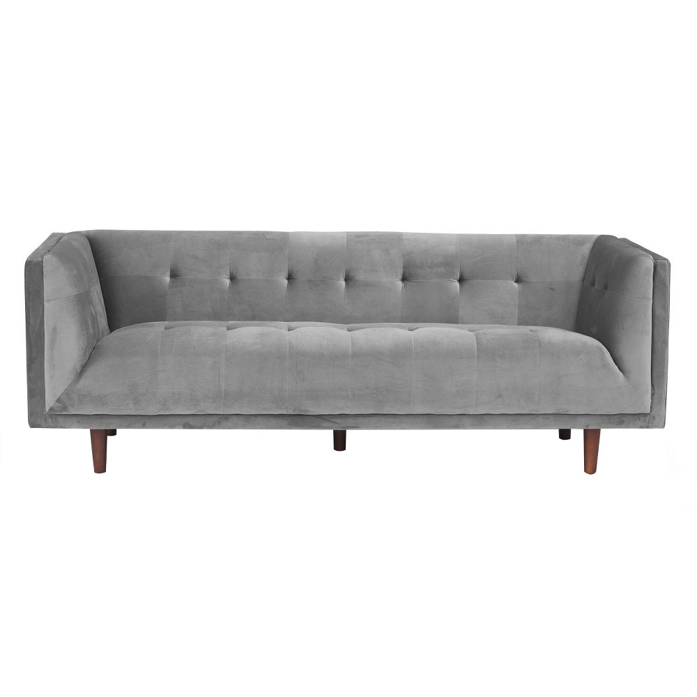 Cecily Mid Century Modern Tufted Back Sofa - Platinum (White) - Aeon
