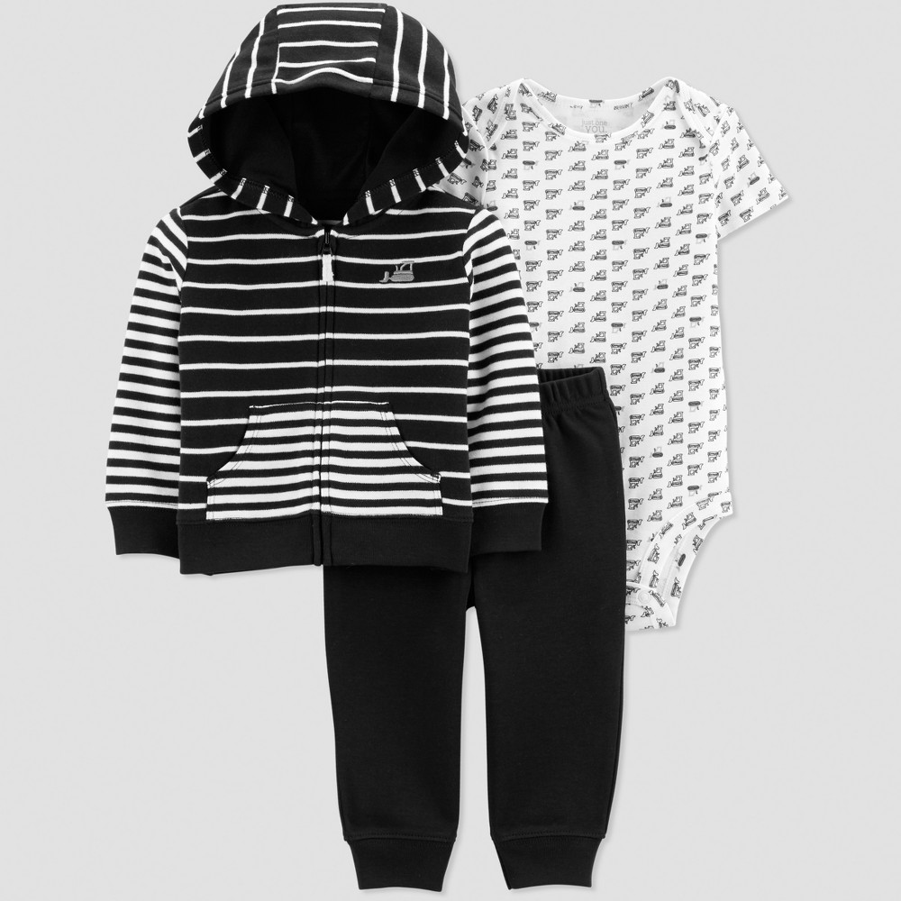 Baby Boys' 3pc Striped Short Sleeve Construction Cotton Cardigan Construction Set - Just One You made by carter's Black/White Newborn