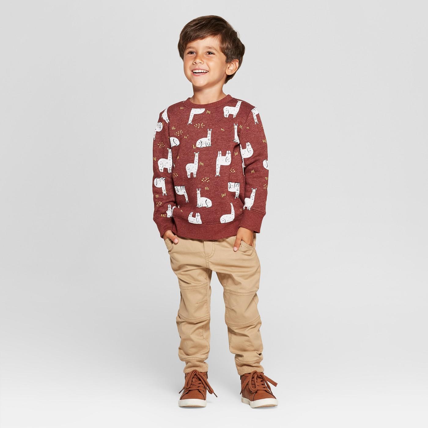 Toddler Boys' All Over Llama Print Fleece Crew Sweatshirt - Cat & Jack™ Maroon - image 3 of 3