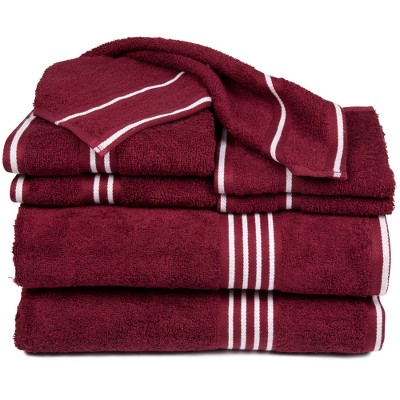 8pc Striped Bath Towel Set Burgundy - Yorkshire Home