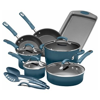 Rachael Ray 14pc Porcelain Enamel Aluminum Nonstick Cookware Set Blue