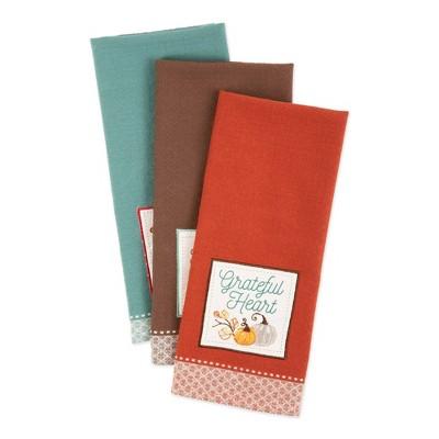 3pk Thankful/Grateful Thanksgiving Embellished Dishtowels - Design Imports