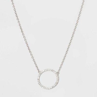 Sterling Silver Pave Cubic Zirconia Circle Necklace - A New Day™ Silver/Clear