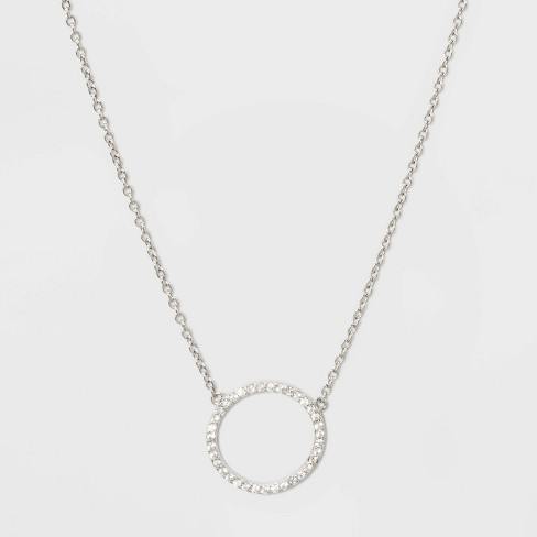 Sterling Silver Pave Cubic Zirconia Circle Necklace - A New Day™ Silver/Clear - image 1 of 2