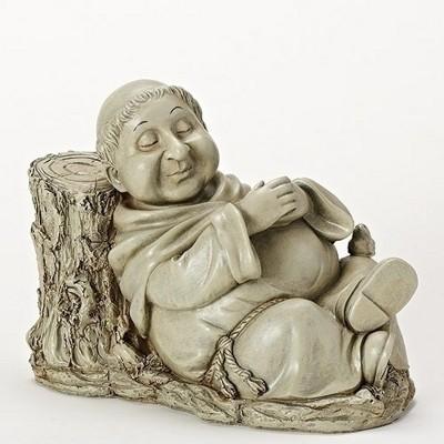 """Roman 10.25"""" Nathan the Napping Monk Outdoor Patio Garden Statue - Gray"""