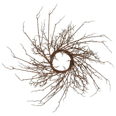 "Artificial Thicket Imitated Branch Wreath (30"") Brown - Vickerman"