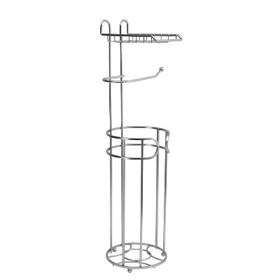 Round Wire Toilet Tissue Reserve with Dispenser and Phone Shelf Satin Nickel - Bath Bliss