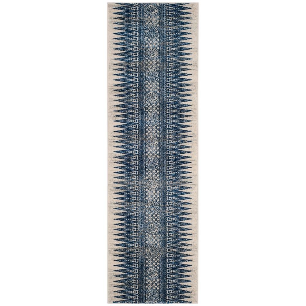 Tribal Design Loomed Runner Rug Ivory/Blue