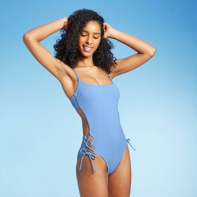 Women's Square Neck Ribbed Lace-Up Side One Piece Swimsuit - Shade & Shore™ Light Blue