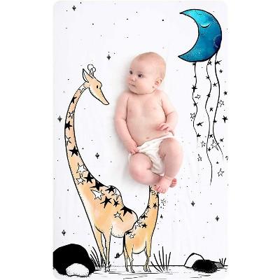"JumpOff Jo Fitted Mini Crib Sheet, Cotton Crib Sheet for Miniature Sized Crib Mattresses, Hypoallergenic and Breathable, 24"" x 38"", Giraffe & a Calf"