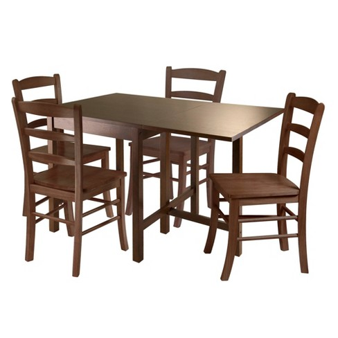 5 Piece Dropleaf Dining Table Set Wood Antique Walnut Winsome Target