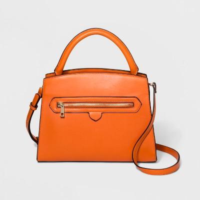 Top Handle Zipper Satchel Handbag - A New Day™ Orange
