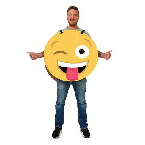 Adult Wink/ Heart Emoji 2-Sided Cardboard Costume - image 1 of 1