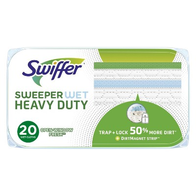 Swiffer Sweeper Heavy Duty Wet Mopping Cloths Multi Surface Refills - Open Window Fresh - 20ct
