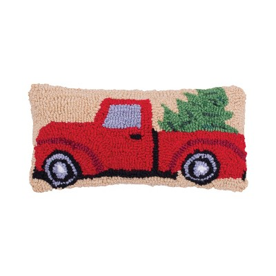 """C&F Home 6"""" x 12"""" Christmas Truck Hooked Petite Pillow"""