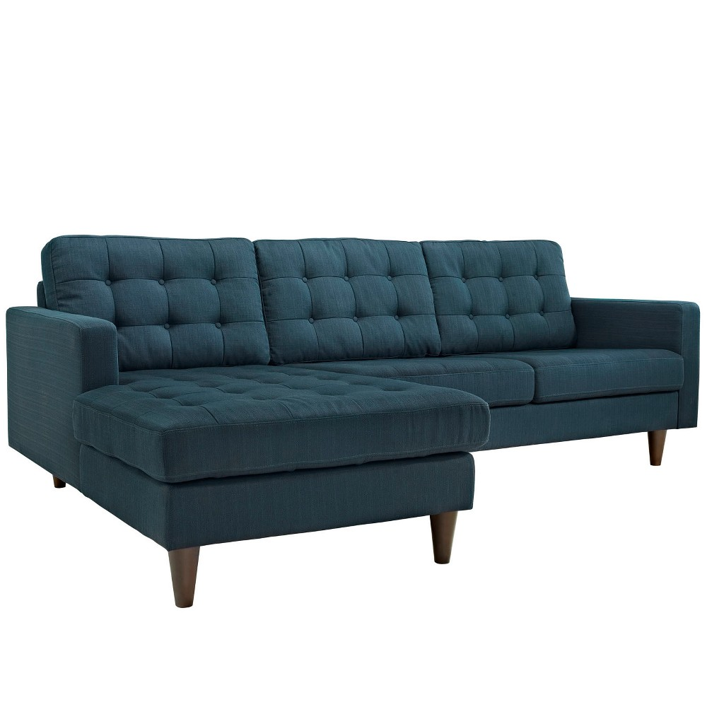 Empress LeftFacing Upholstered Sectional Sofa Azure (Blue) - Modway