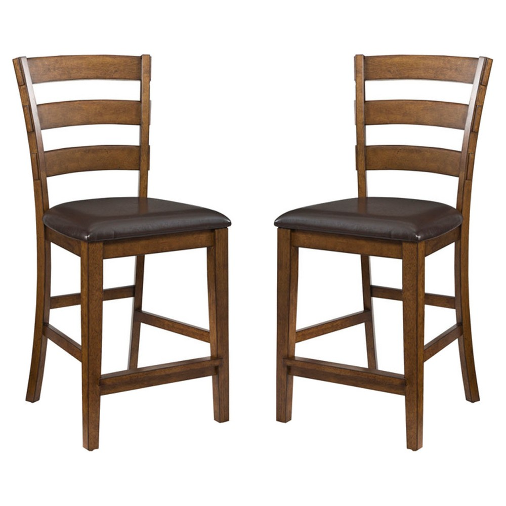 "Image of ""24"""" Santa Clara Ladderback Barstool with Faux Leather Seat Brandy Finish (Set of 2) - Intercon, Brown"""