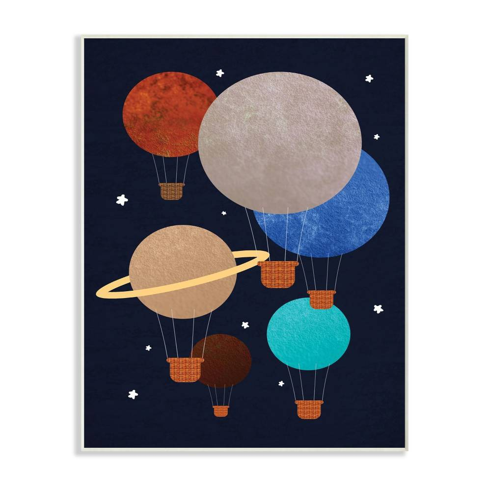 """Image of """"10""""""""x0.5""""""""x15"""""""" Hot Air Balloon Planets Wall Plaque Art - Stupell Industries"""""""