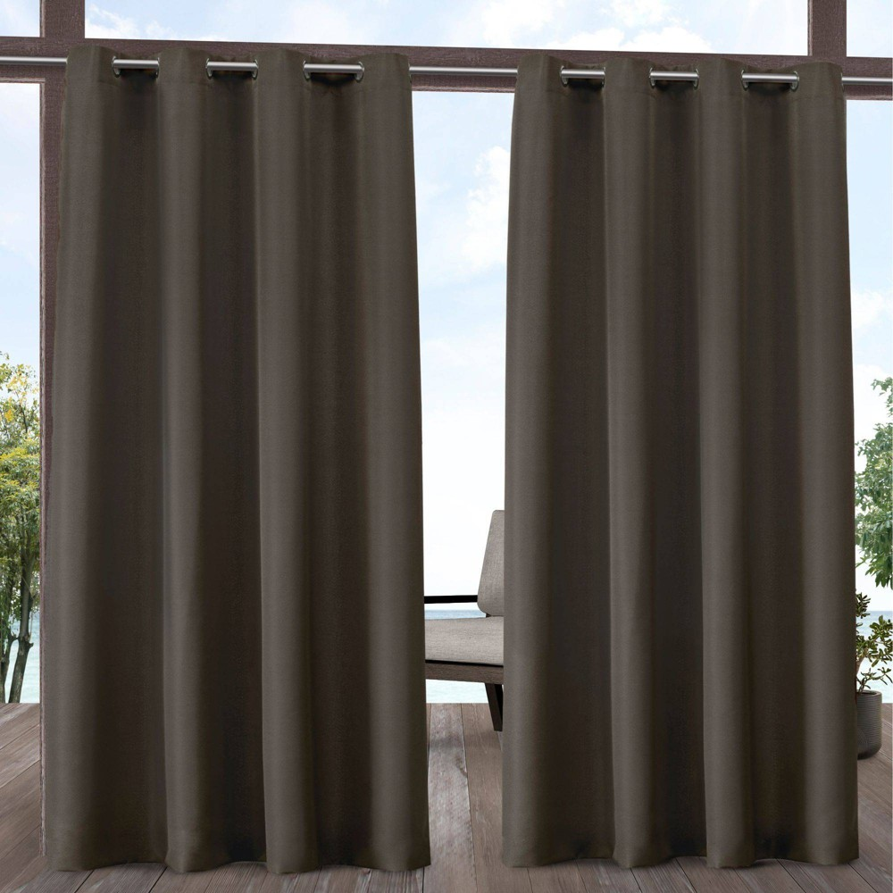 Set Of 2 120 34 X54 34 Solid Cabana Grommet Top Light Filtering Curtain Panels Chocolate Exclusive Home