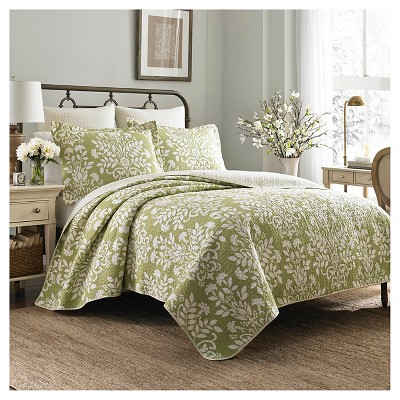Rowland Quilt And Sham Set Full/Queen Light Green - Laura Ashley