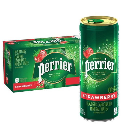 Perrier Strawberry Flavored Carbonated Mineral Water - 10pk/8.45 fl oz Cans - image 1 of 4