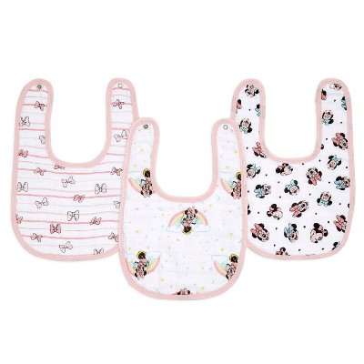 aden by aden + anais essentials 3pk Water Resistant Bib - Minnie Rainbows