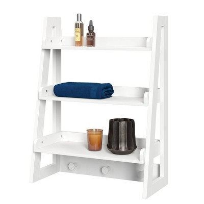 Wall Mounted Ladder Shelf with Towel Hooks White - RiverRidge Home