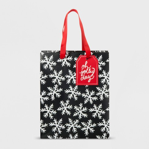 White Snowflakes on Black Gift Bag Small - Wondershop™ - image 1 of 1