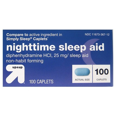 Diphenhydramine HCl Nighttime Sleep Aid Caplets - 100ct - up & up™
