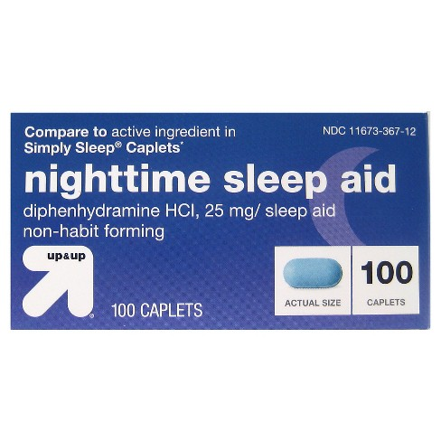Diphenhydramine HCl Nighttime Sleep Aid Caplets - 100ct - Up&Up™ (Compare to active ingredient in Simply Sleep Caplets) - image 1 of 1