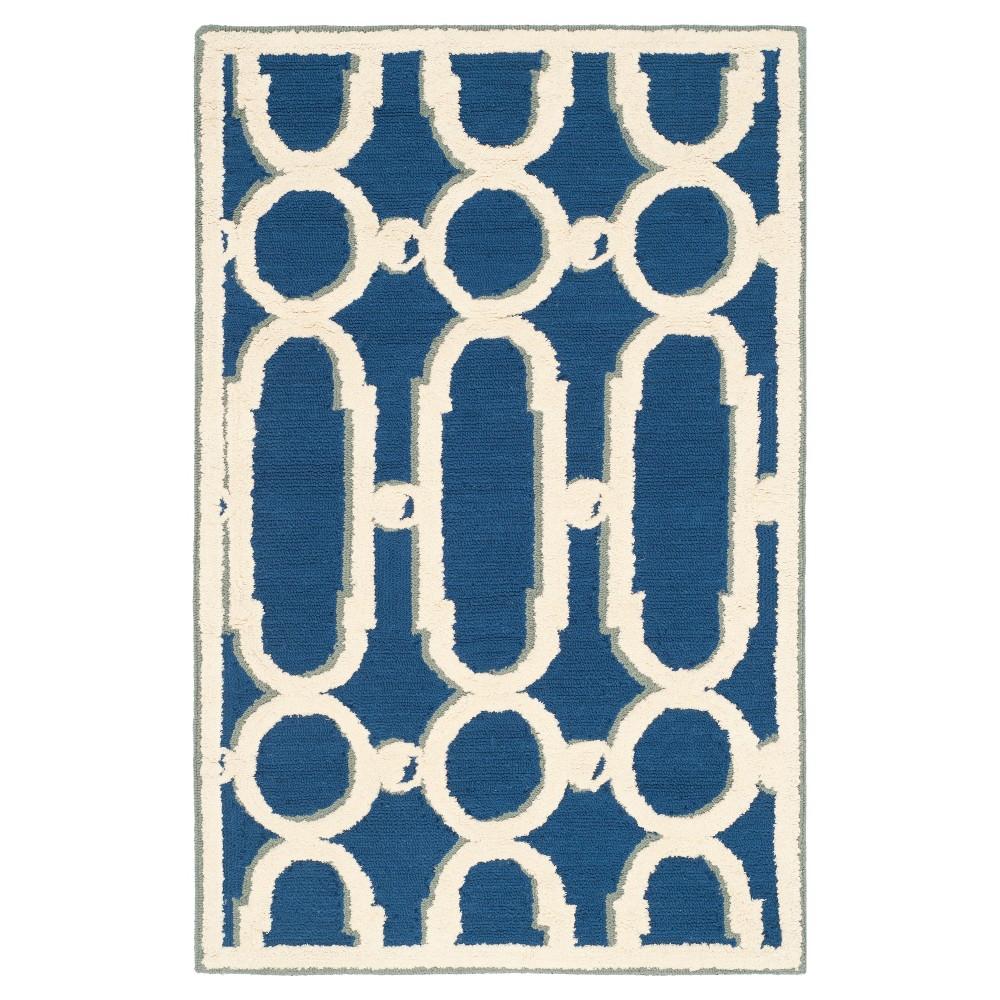 Royal Blue/White Geometric Hooked Accent Rug 2'X3' - Safavieh