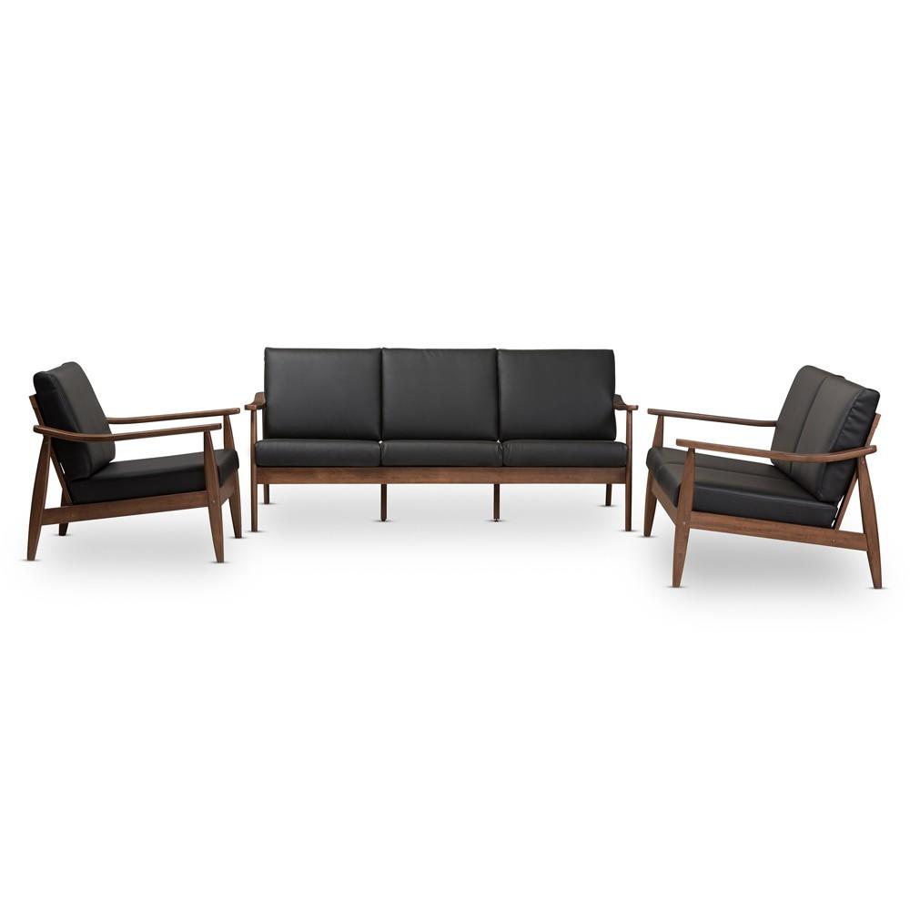 Venza Mid Modern Walnut Wood Faux Leather 3pc Livingroom Set Black - Baxton Studio