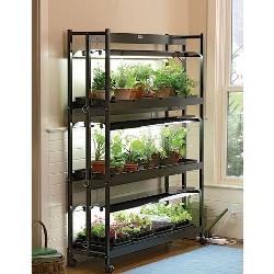 Gardener's Supply Company Indoor Grow Light, 3-Tier Stand SunLite Light Garden With Plant Trays - Gardener's Supply Company