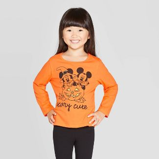 Toddler Girls' Mickey Mouse Scary Cute Halloween Long Sleeve T-Shirt Orange 18M
