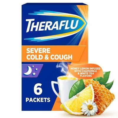 Theraflu Nighttime Severe Cold & Cough Relief Powder - Acetaminophen - Honey Lemon - 6ct