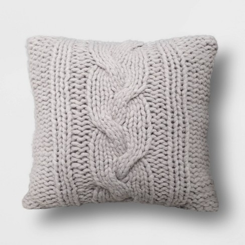 Oversized Square Chunky Cable Knit Throw Pillow Gray - Threshold™ - image 1 of 3