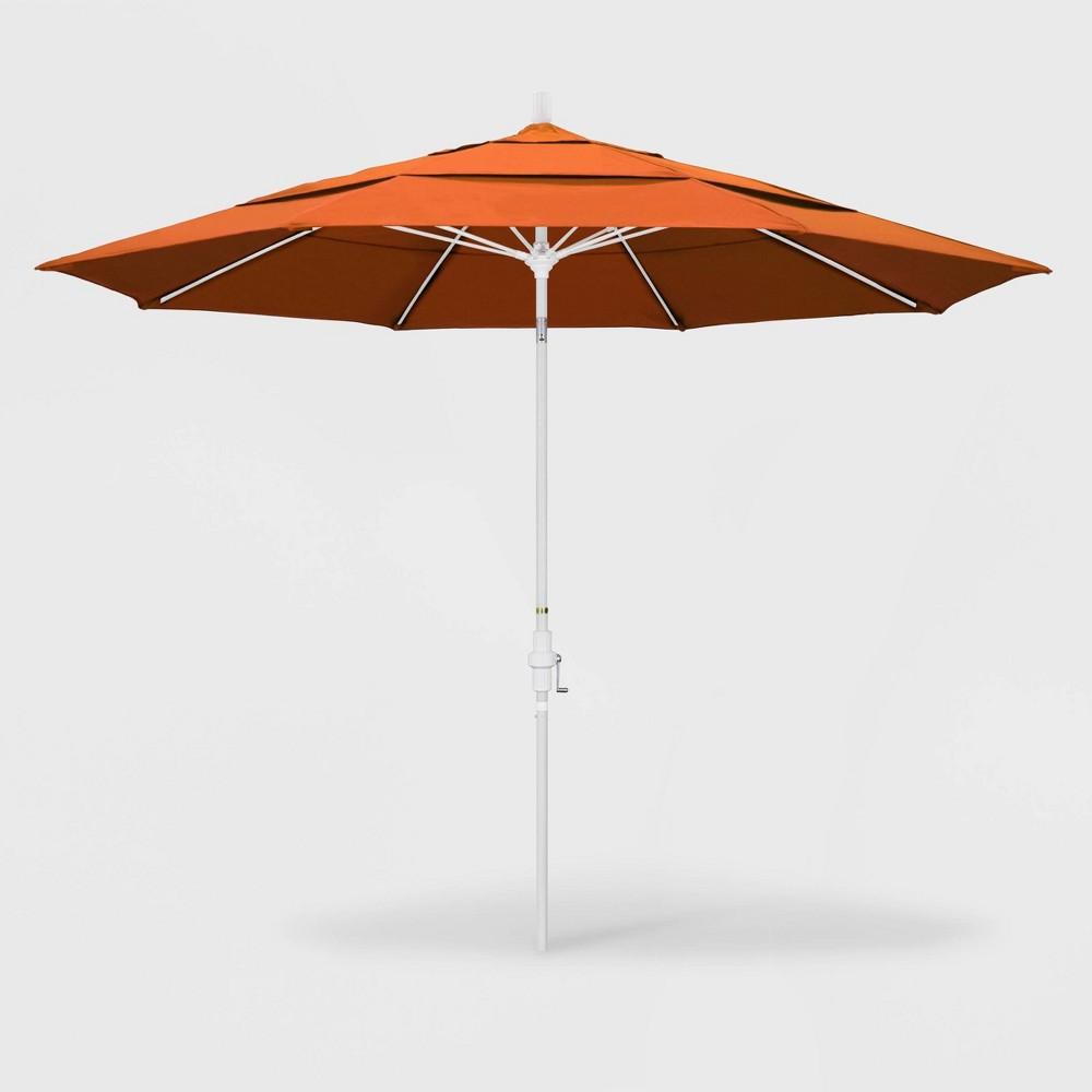 Image of 11' Sun Master Patio Umbrella Collar Tilt Crank Lift - Sunbrella Tuscan - California Umbrella